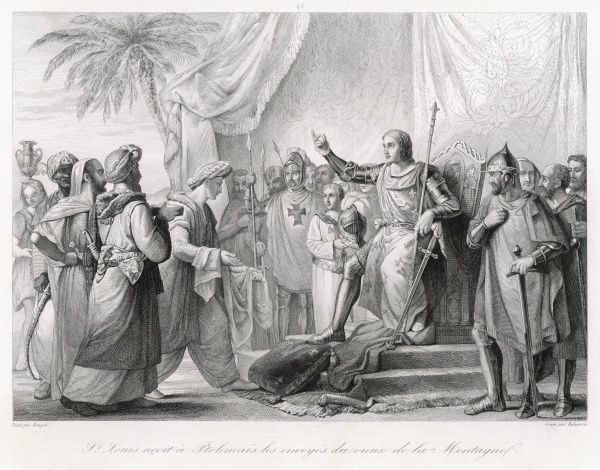 Louis IX at Acre receives embassy from 'the Old Man of the Mountain&#39