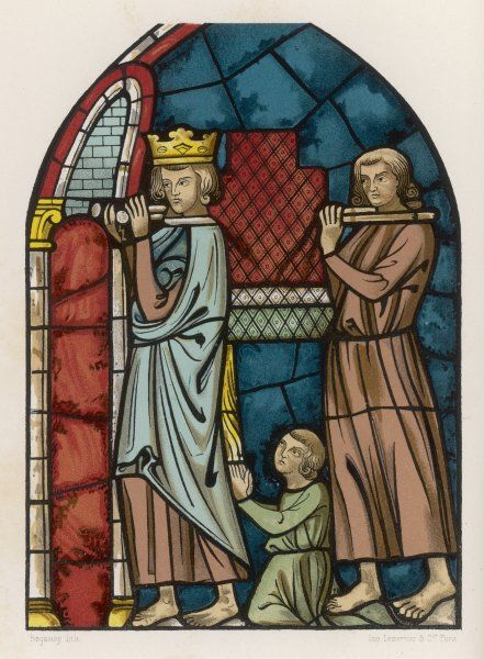 LOUIS IX, saint & crusader depicted bringing to Paris the relics of Jesus' passion