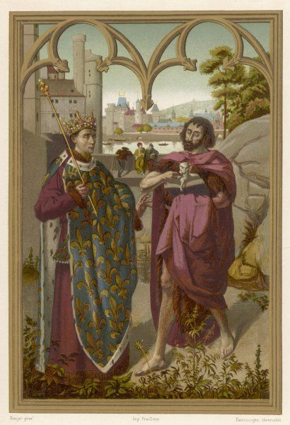 LOUIS IX, SAINT & CRUSADER depicted with John the Baptist