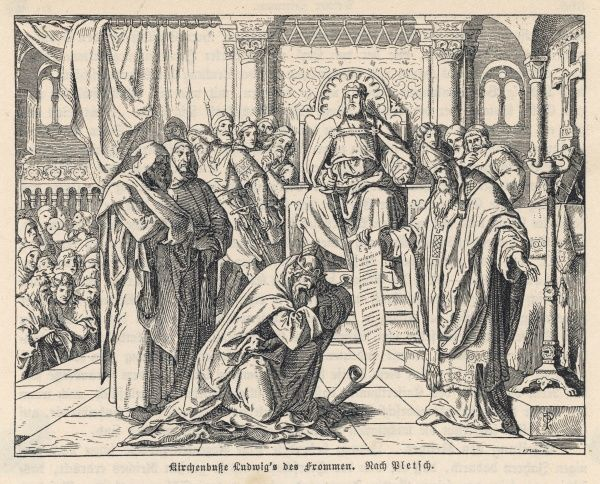 The reign of Louis le pieux is notable for the increased power of the clergy : at Attigny he does public penance before the emperor, further diminishing his prestige