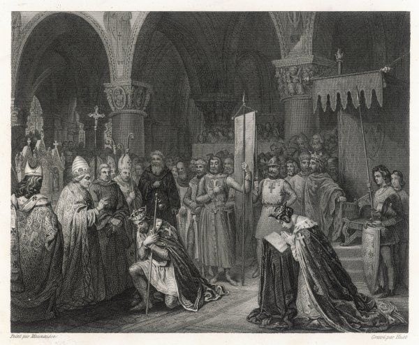 2ND CRUSADE Louis VII is blessed at Saint-Denis before leaving for the East