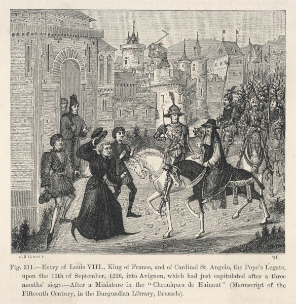 Louis VIII, known as 'le Lion', is determined to stamp out heresy in the south of France : he rides triumphantly into Avignon after besieging it for three months