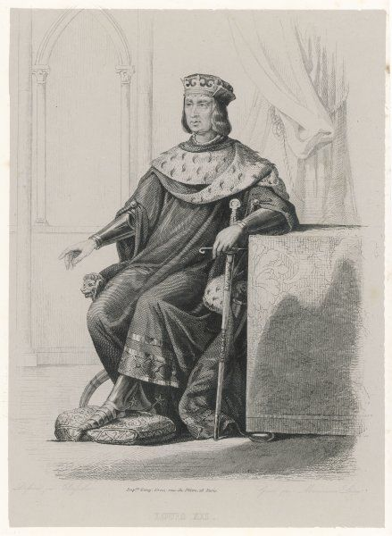 LOUIS XII king of France seated wearing his crown and holding a sword