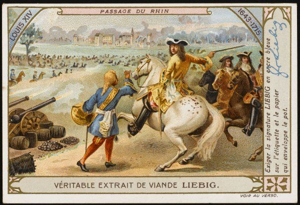 Louis XIV leads the French army across the Rhine