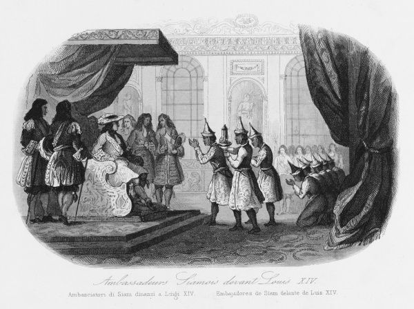 King Louis XIV of France receives delegates from Siam (Thailand) who have come to study science in Europe