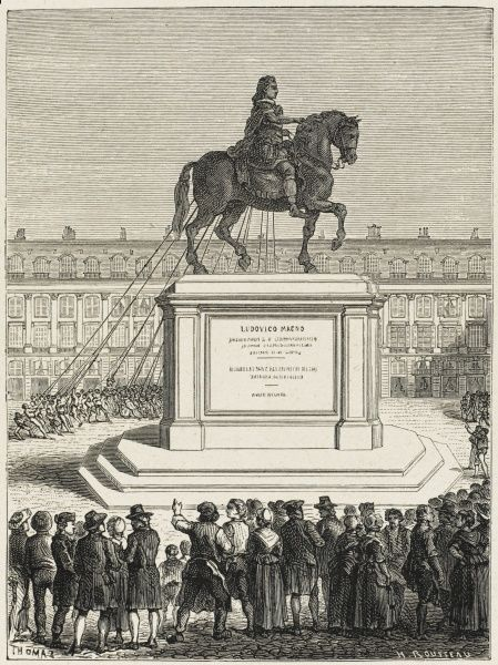 The statue of Louis XIV, in the place Vendome, Paris, is pulled down by the mob in a gesture of anti-monarchism
