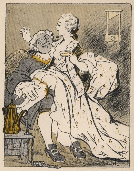 LOUIS XV/BIEN AIME (The well-beloved) King of France 1715 - 1774 Caricature of the King enjoying himself with a young lady