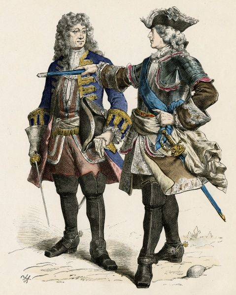 Louis XV, King of France and Navarre (reigned 1715-1774), known as Le Bien-Aime (The Well-Beloved). Seen here with one of his generals. Date: 1710-1774