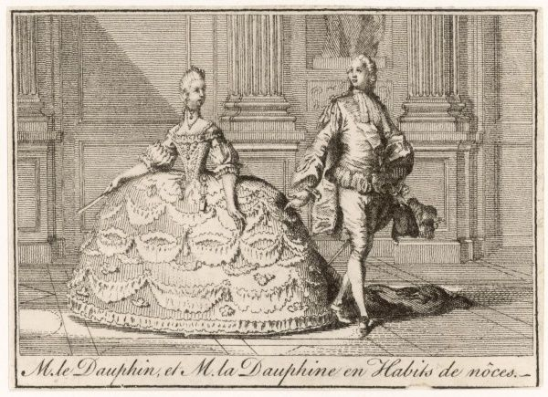 Louis XVI, King of France (1754-1793, reigned 1774-1792) with his wife Marie Antoinette (1755-1793) in their wedding costumes at the ages of 15 and 14 respectively