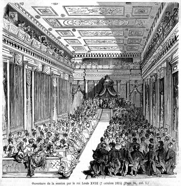After Waterloo, Louis XVIII can safely return to Paris, where he presides at a sitting of the Assemblee Nationale