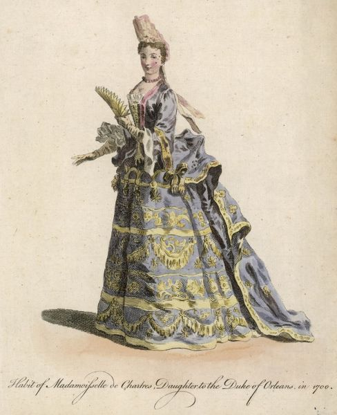 Margaret de Chartres, wearing a fontange headdress (commode), a gown with a long train, a stomacher & a petticoat trimmed horizontally with gold bands, stars & festoons