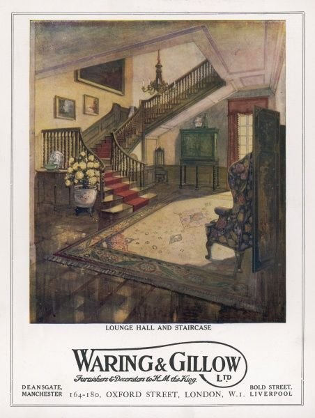 A middle class lounge, hallway and staircase designed by Waring and Gillow