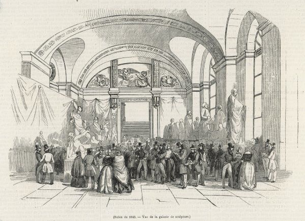Visitors throng the Galerie de Sculpture at the Salon of 1843
