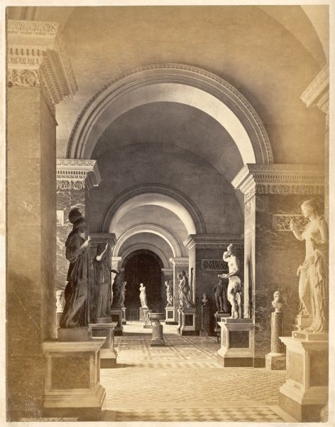 A sculpture gallery, with the Venus de Milo strategically placed at the far end