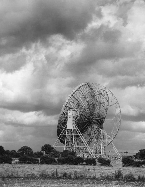 The brainchild of Sir Bernard Lovell, the Lovell Radio Telescope was for many years the largest in the world and dominates the Cheshire countryside for miles around. Date: 1960s