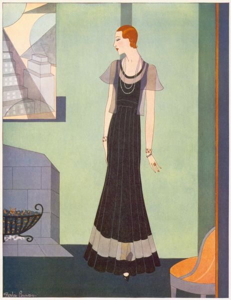 A fashion illustration by Gordon Conway of a black velvet and net dinner gown worn with a net jacket
