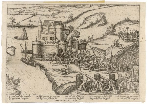 During the fighting between the occupying Spanish and the Dutch patriots, the castle of Lovenstein is attacked with artillery, cavalry and infantry