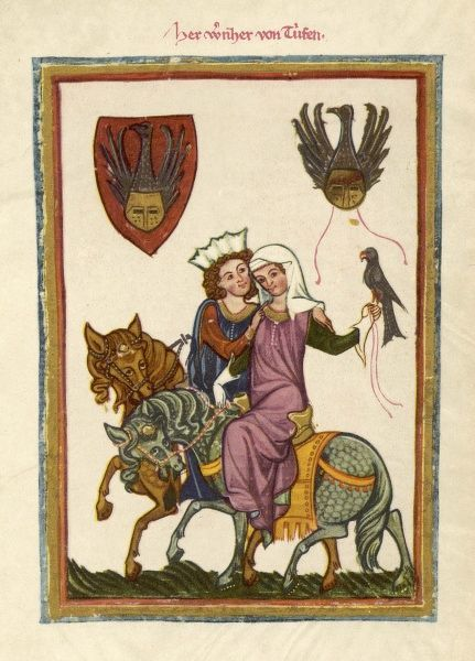 An amorous couple out hunting
