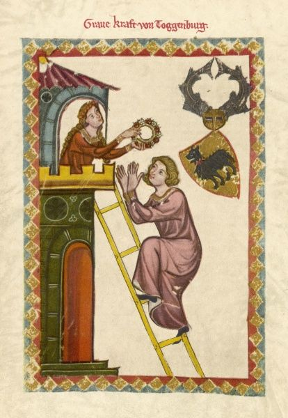 A lover uses a ladder to climb up to the window of his beloved and is rewarded with a wreath of flowers