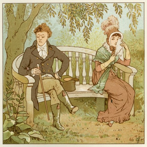 A young couple sit at opposite sides of a garden bench, his top hat separates them. They appear not to be on speaking terms. He looks away from her, disgruntled while she holds a handkerchief to her eyes to mop her tears or possibly just to gain his attention