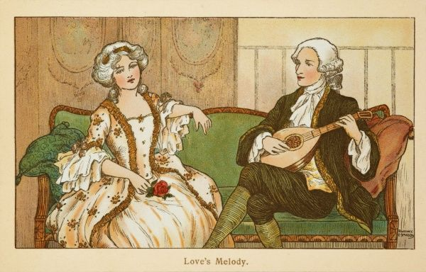 An 18th century couple sit on an elegant sofa. The man plays a romantic serenade on his lute while his companion listens politely