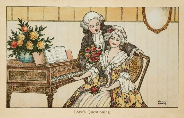 An 18th century scene depicting a man in a powdered wig wooing a young lady who is playing a piano or harpsichord