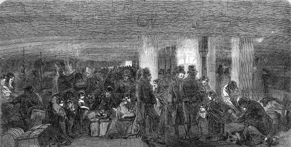 Engraving showing the lower deck of an emigrant ship bound for America, 1850. The emigrants are shown crowded together with their luggage in a very confined space