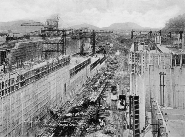 Lower lock under construction, looking South, Miraflores, Panama Canal