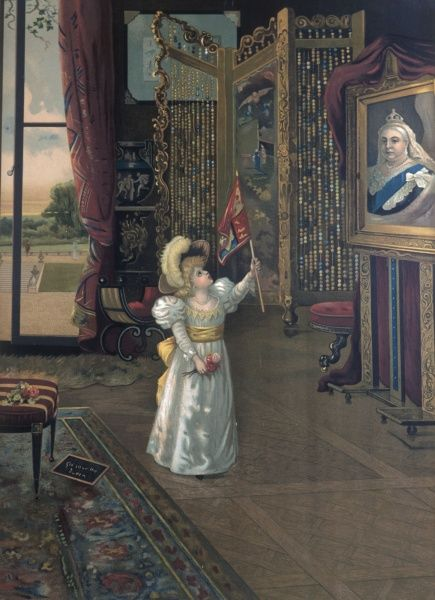 A small child, left alone in a rather grand room, waves a flag patriotically at a portrait of Queen Victoria