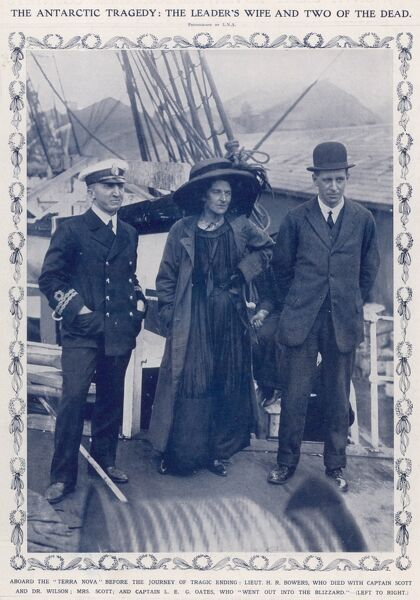 Lt. H.R. Bowers (left), Mrs. Scott (wife of Robert Falcon Scott) and Captain L.E.G. Oates aboard the 'Terra Nova', prior to the departure of the British Antarctic Expedition of 1910-12