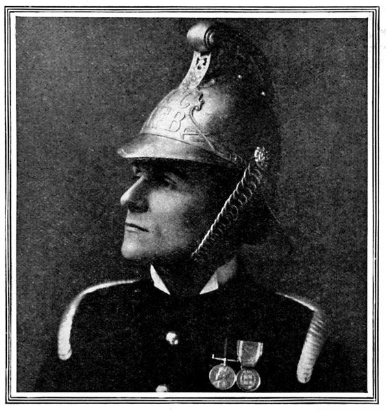 Photographic portrait of Lieutenant Sampson Sladen, the Chief Officer of the London Fire Brigade, photographed in full uniform, 1909
