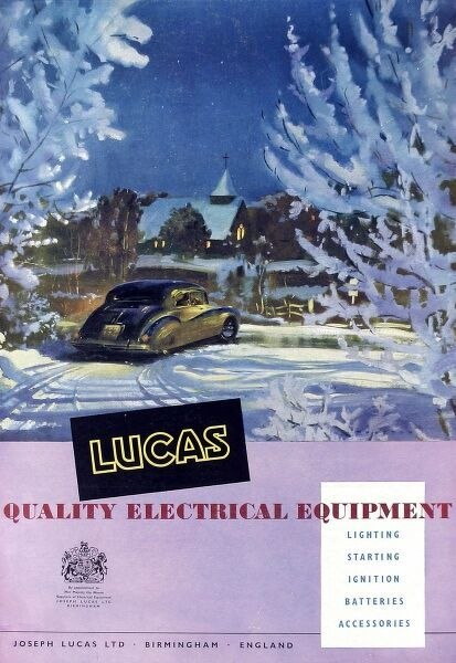 Advertisement from 1959 for Lucas Quality Electrical Equipment showing a car driving through a snowy Christmas landscape