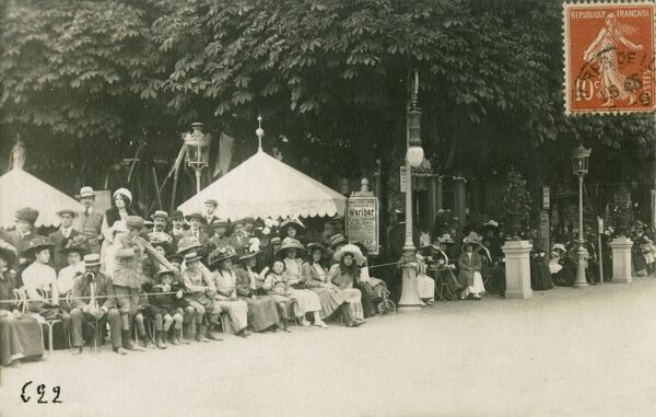 Luchon, Pyrenees, southern France - 87 miles south west of Toulous - famous for its thermal springs. Here, a patient crowd await the arrival of a parade, or a famous celebrity perhaps?