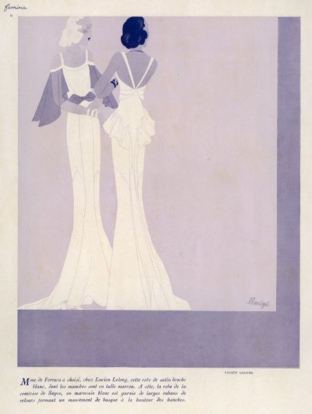 Two elegant evening dresses designed by Lucien Lelong. Left is white satin with maroon tulle sleeves. Right is in Moroccan blue with gathering at the hips