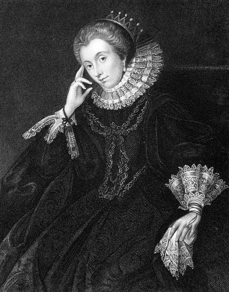 Engraved portrait of Lucy Harrington (or Harington) (1581-1627), Countess of Bedford, pictured c.1600