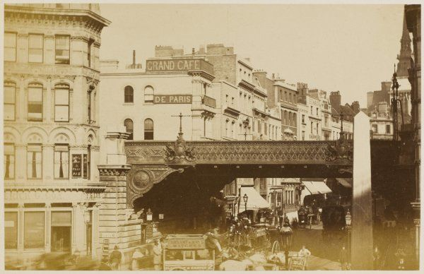 Ludgate with the railway bridge crossing Ludgate Hill. The bridge was built in 1866 and removed in 1989