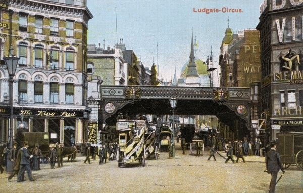 Ludgate Circus, looking eastwards Date: circa 1900