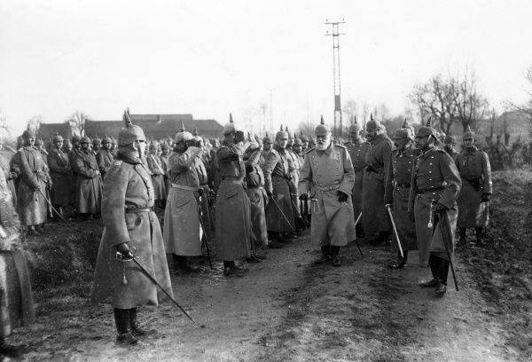 Ludwig III of Bavaria (1845-1921) visiting troops at Comines, Northern France, during the First World War. He was the last King of Bavaria (ruling 1913-1918). Date: 1915