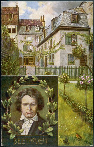 LUDWIG VAN BEETHOVEN His home and garden in Bonn with a portrait of him inset in the bottom corner