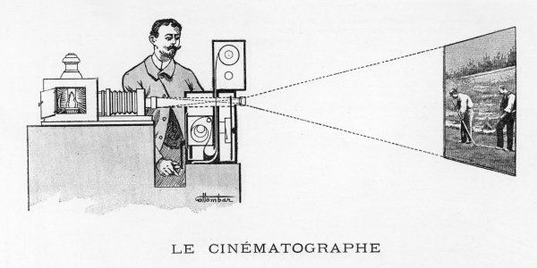LUMIERE'S CINEMATOGRAPH : a contemporary depiction of the French device which has the best claim to be the world's first practical film projector