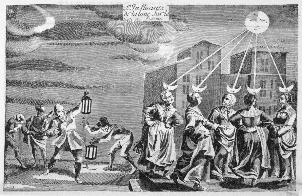 'The Influence of the Moon on the Heads of Women' a 17th century caricature which manages to be both politically incorrect and scientifically doubtful