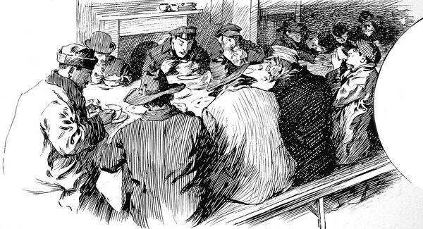 Engraving showing a group of men, seated on benches around a table having soup for lunch, at the Jewish shelter in the East End of London, 1904. This engraving was part of an article in the Illustrated London News entitled 'The Alien in England