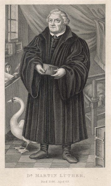 MARTIN LUTHER with a swan