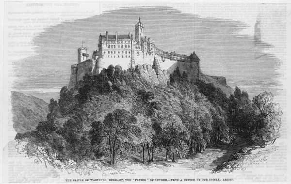 LUTHER's refuge at the castle of the Wartburg where he was taken for safety by the elector of Sachsen (Saxony)