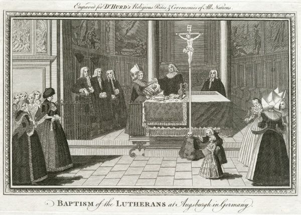 A church baptism among the Lutherans at Augsburg