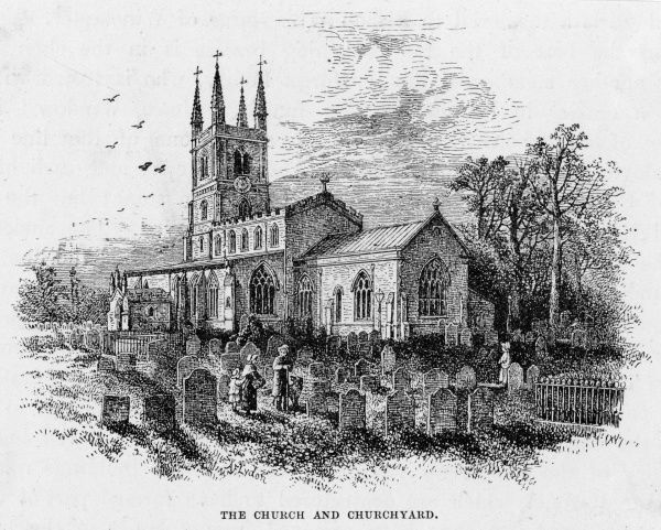The church and churchyard at Lutterworth, Leicestershire