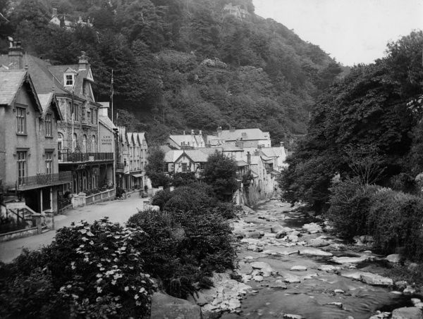 The village of Lynmouth, Lyn Valley, North Devon, England, as it was before it was devastated by the great storm and flood of August 1952. Date: 1930s