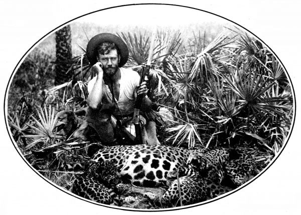 Photograph of M. Alexander Siemel, otherwise known as 'The Tiger Man', photographed in the jungle, with some leopards, c.1925