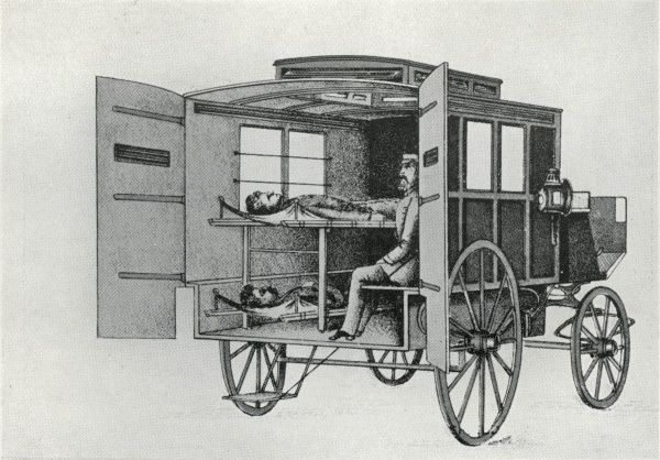 Interior of one of the first ambulances to be operated by London's Metropolitan Asylums Board in the 1880s for transporting fever and smallpox patients to and from the Board's hospitals