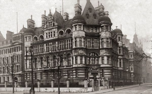 Headquarters of the Metropolitan Asylums Board at the corner of Carmelite Street on the Victoria Embankment, Central London